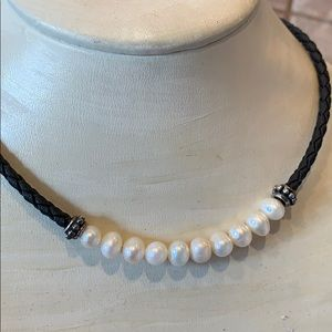 Jewelry - Beautiful genuine pearl braided leather sterling